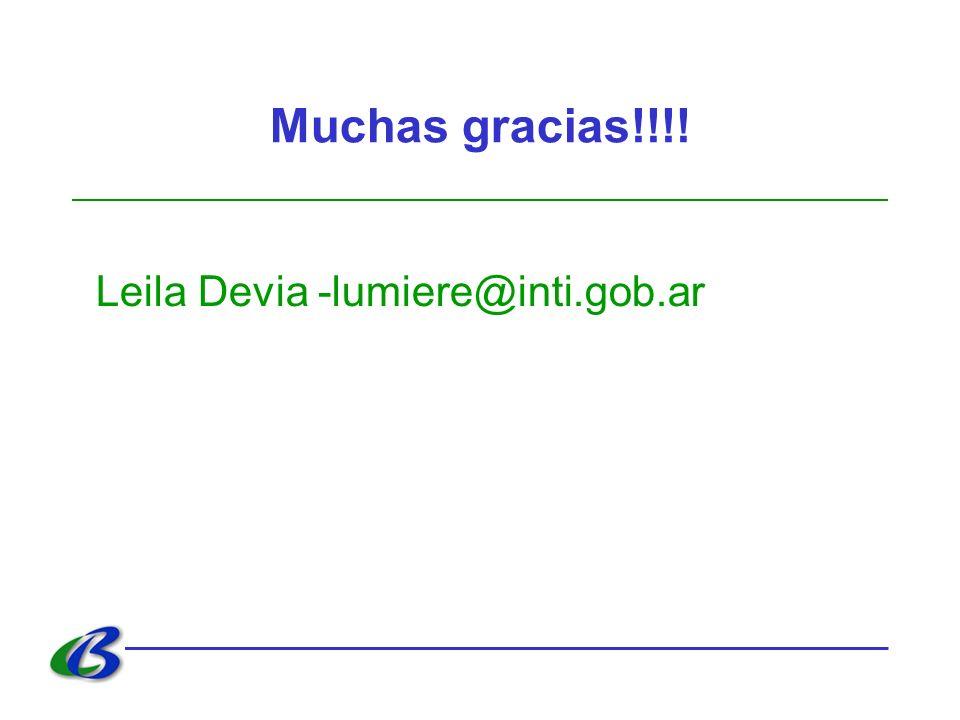 Muchas gracias!!!! Leila Devia -lumiere@inti.gob.ar