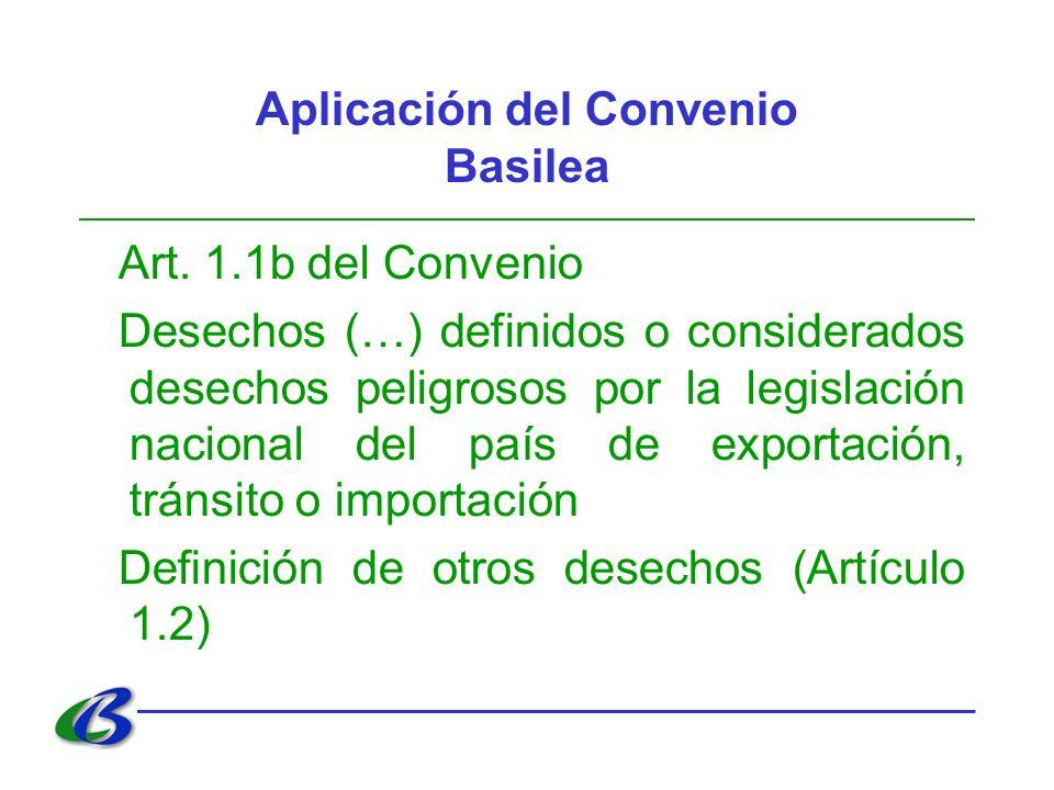 Aplicación del Convenio Basilea Art. 1.1b del Convenio Desechos (…) definidos o considerados desechos peligrosos por la legislación nacional del país
