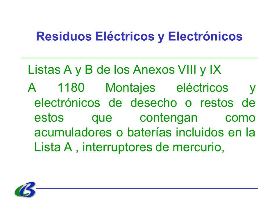 Residuos Eléctricos y Electrónicos Listas A y B de los Anexos VIII y IX A 1180 Montajes eléctricos y electrónicos de desecho o restos de estos que con