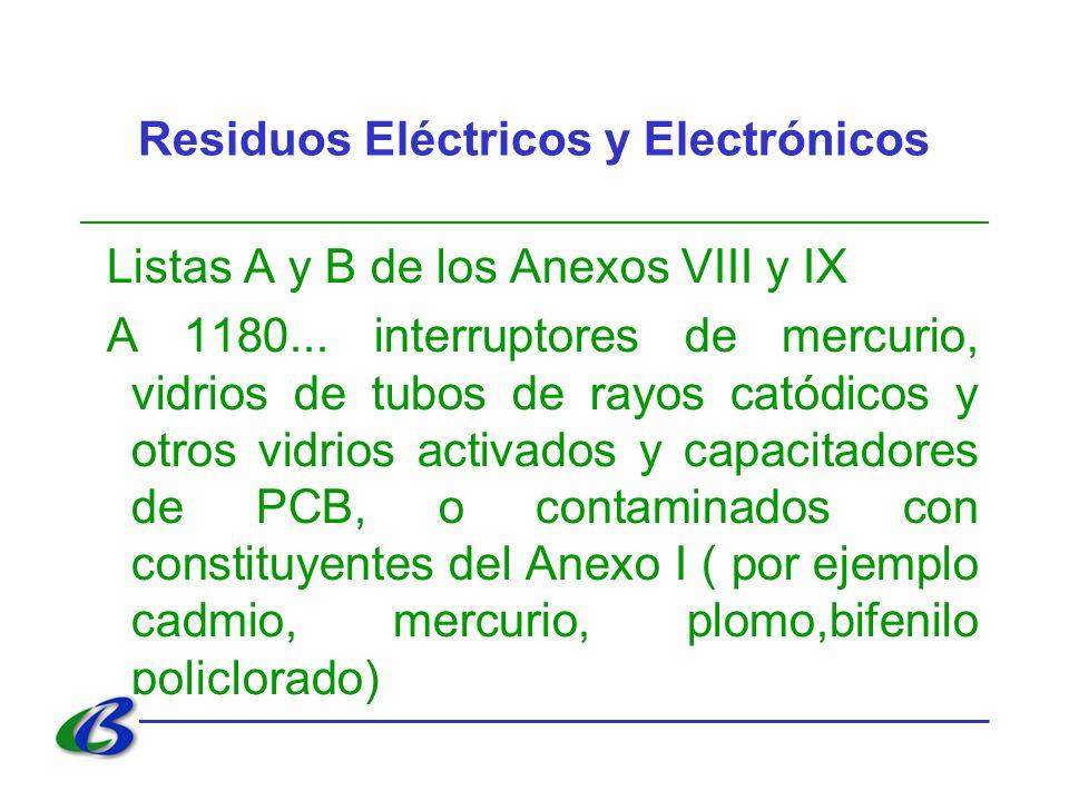 Residuos Eléctricos y Electrónicos Listas A y B de los Anexos VIII y IX A 1180... interruptores de mercurio, vidrios de tubos de rayos catódicos y otr