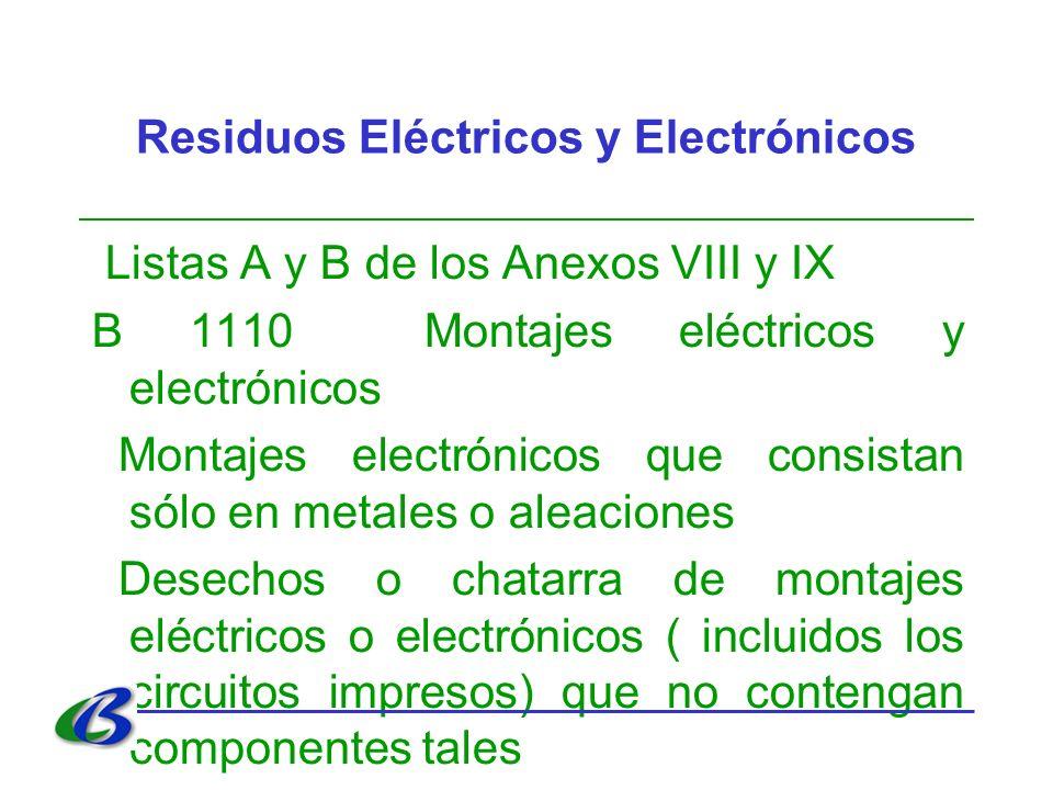 Residuos Eléctricos y Electrónicos Listas A y B de los Anexos VIII y IX B 1110 Montajes eléctricos y electrónicos Montajes electrónicos que consistan