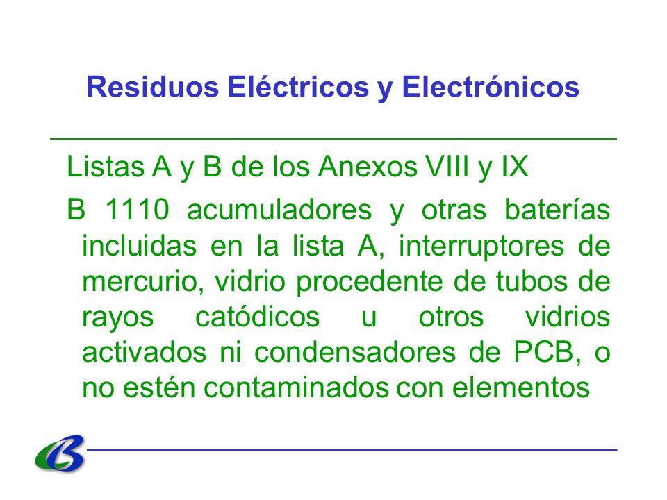 Residuos Eléctricos y Electrónicos Listas A y B de los Anexos VIII y IX B 1110 acumuladores y otras baterías incluidas en la lista A, interruptores de