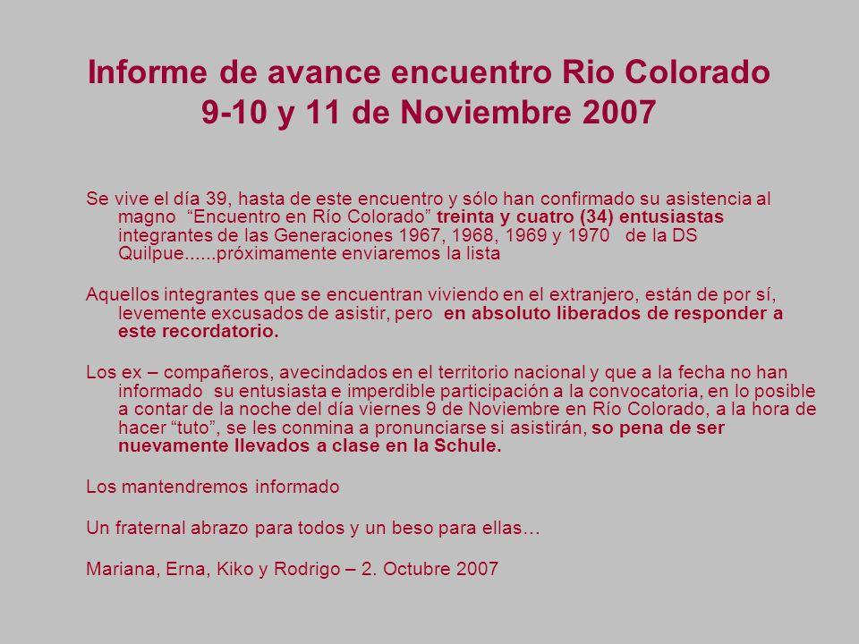 Informe de avance encuentro Rio Colorado 9-10 y 11 de Noviembre 2007 Se vive el día 39, hasta de este encuentro y sólo han confirmado su asistencia al