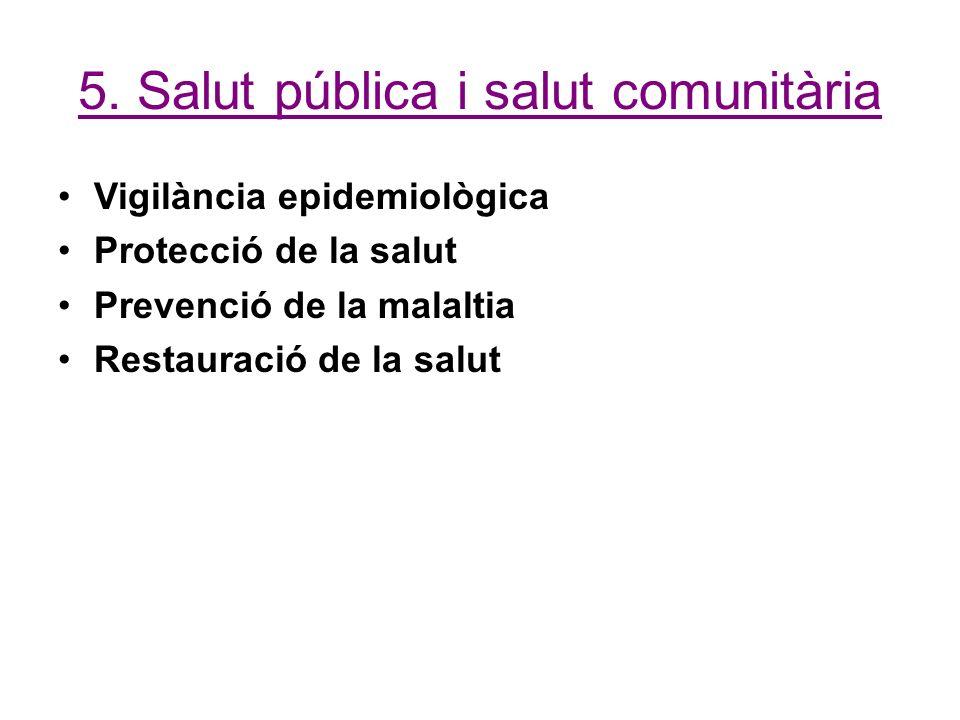 5. Salut pública i salut comunitària Vigilància epidemiològica Protecció de la salut Prevenció de la malaltia Restauració de la salut