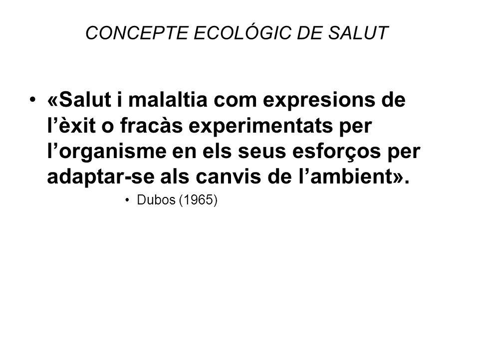 CONCEPTE ECOLÓGIC DE SALUT «Salut i malaltia com expresions de lèxit o fracàs experimentats per lorganisme en els seus esforços per adaptar-se als can