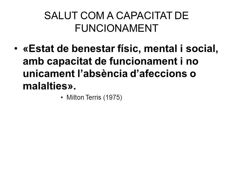 SALUT COM A CAPACITAT DE FUNCIONAMENT «Estat de benestar físic, mental i social, amb capacitat de funcionament i no unicament labsència dafeccions o m