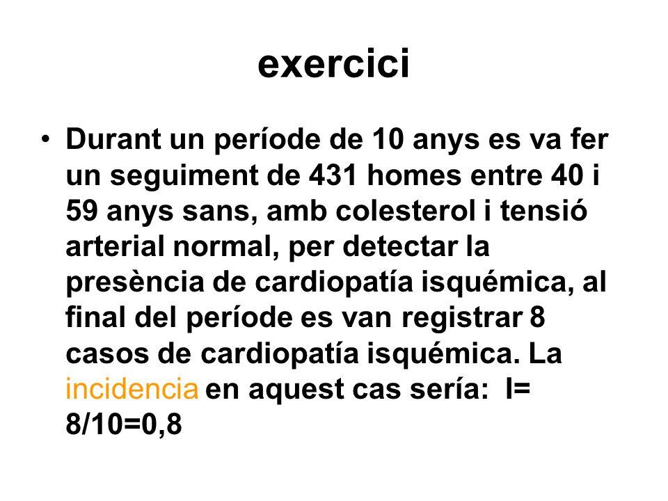 exercici Durant un període de 10 anys es va fer un seguiment de 431 homes entre 40 i 59 anys sans, amb colesterol i tensió arterial normal, per detect