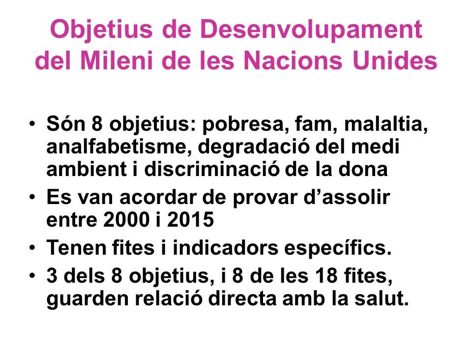 Objetius de Desenvolupament del Mileni de les Nacions Unides Són 8 objetius: pobresa, fam, malaltia, analfabetisme, degradació del medi ambient i disc