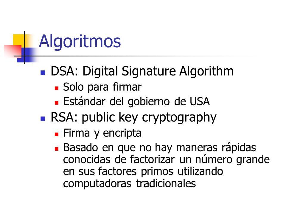 Algoritmos DSA: Digital Signature Algorithm Solo para firmar Estándar del gobierno de USA RSA: public key cryptography Firma y encripta Basado en que