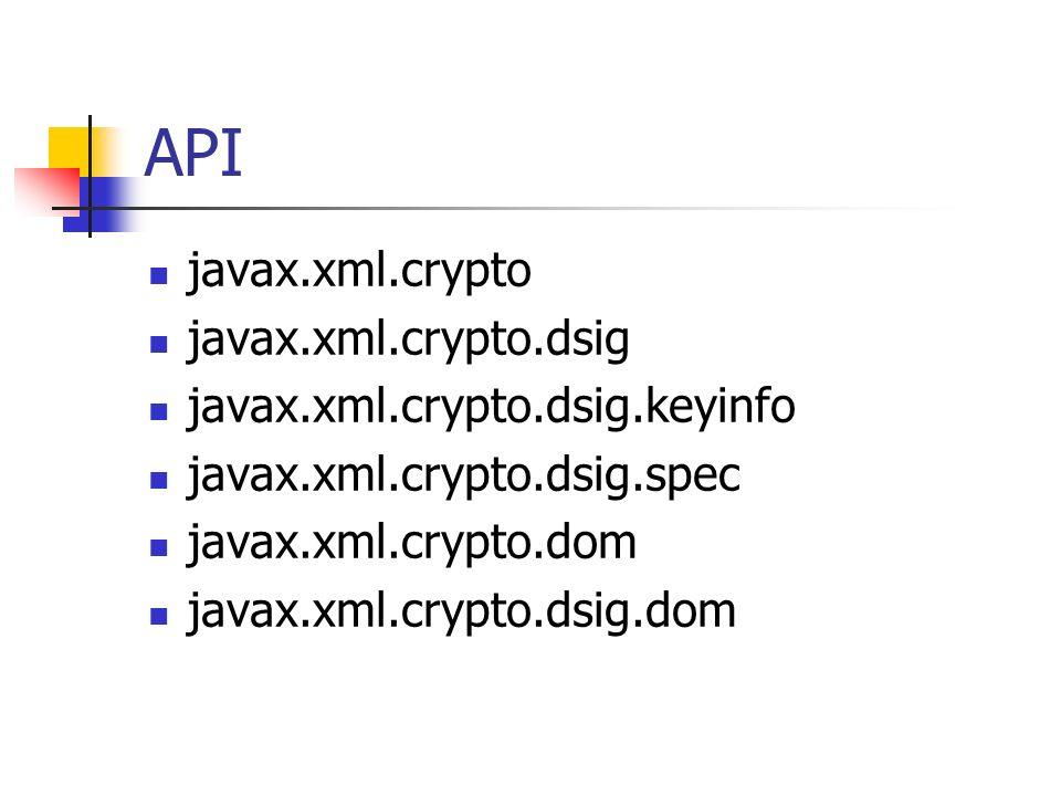 API javax.xml.crypto javax.xml.crypto.dsig javax.xml.crypto.dsig.keyinfo javax.xml.crypto.dsig.spec javax.xml.crypto.dom javax.xml.crypto.dsig.dom