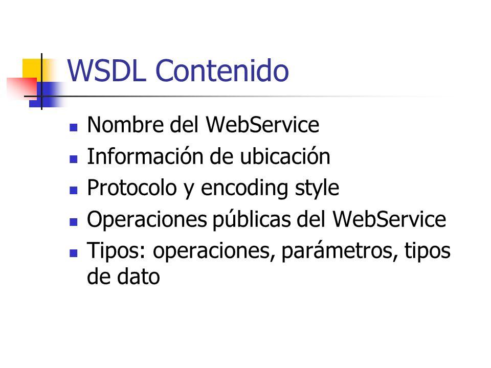WSDL Contenido Nombre del WebService Información de ubicación Protocolo y encoding style Operaciones públicas del WebService Tipos: operaciones, parám