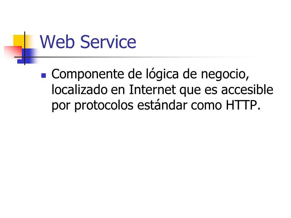 Web Service Componente de lógica de negocio, localizado en Internet que es accesible por protocolos estándar como HTTP.