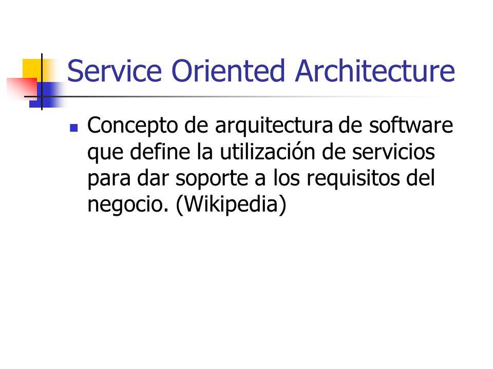 Service Oriented Architecture Concepto de arquitectura de software que define la utilización de servicios para dar soporte a los requisitos del negoci