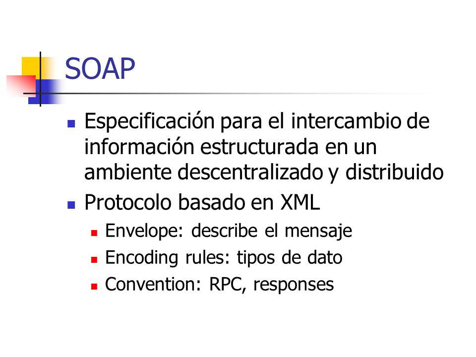 SOAP Especificación para el intercambio de información estructurada en un ambiente descentralizado y distribuido Protocolo basado en XML Envelope: des