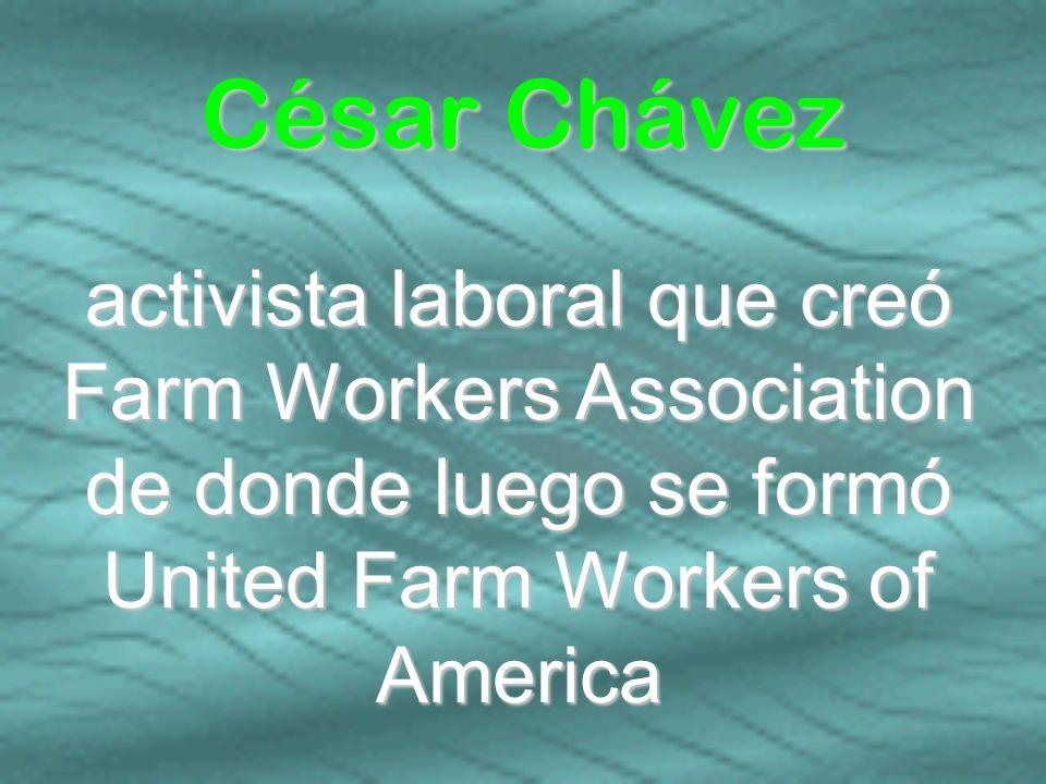 activista laboral que creó Farm Workers Association de donde luego se formó United Farm Workers of America César Chávez