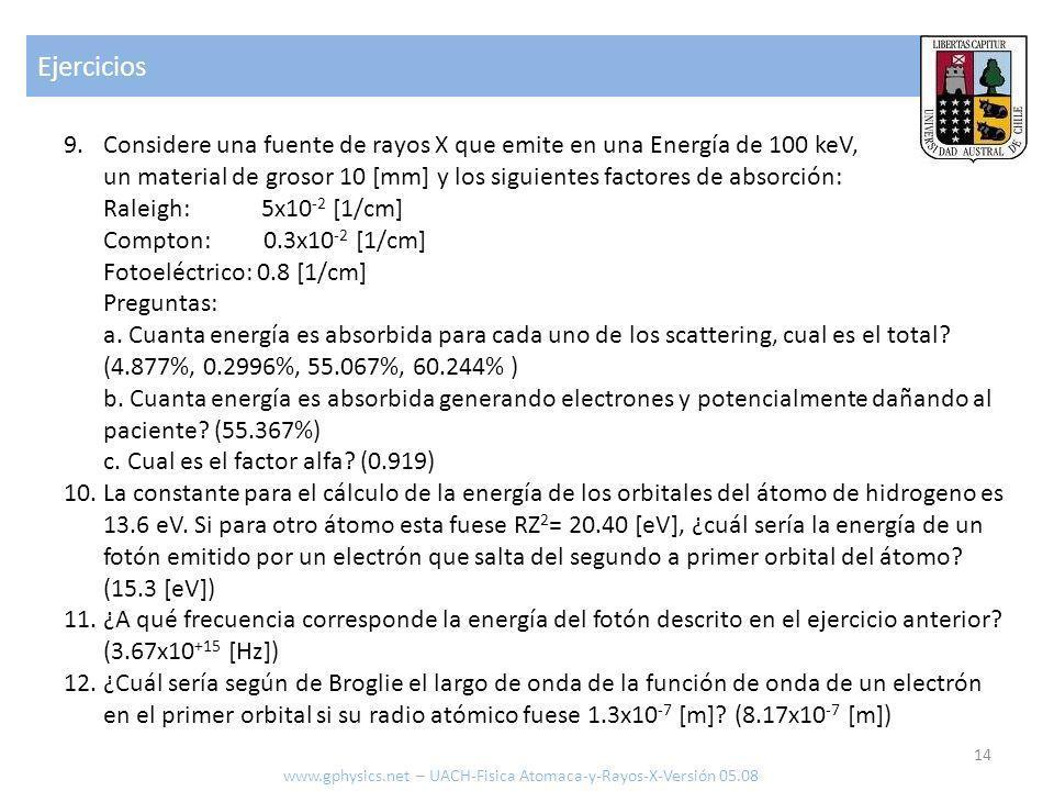 Ejercicios 14 www.gphysics.net – UACH-Fisica Atomaca-y-Rayos-X-Versión 05.08 9.Considere una fuente de rayos X que emite en una Energía de 100 keV, un