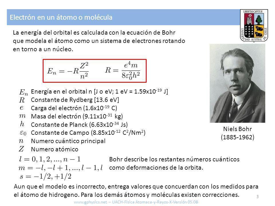 Electrón en un átomo o molécula 3 La energía del orbital es calculada con la ecuación de Bohr que modela el átomo como un sistema de electrones rotand