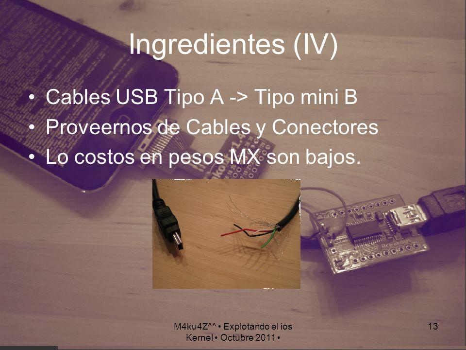 M4ku4Z^^ Explotando el ios Kernel Octubre 2011 13 Ingredientes (IV) Cables USB Tipo A -> Tipo mini B Proveernos de Cables y Conectores Lo costos en pe