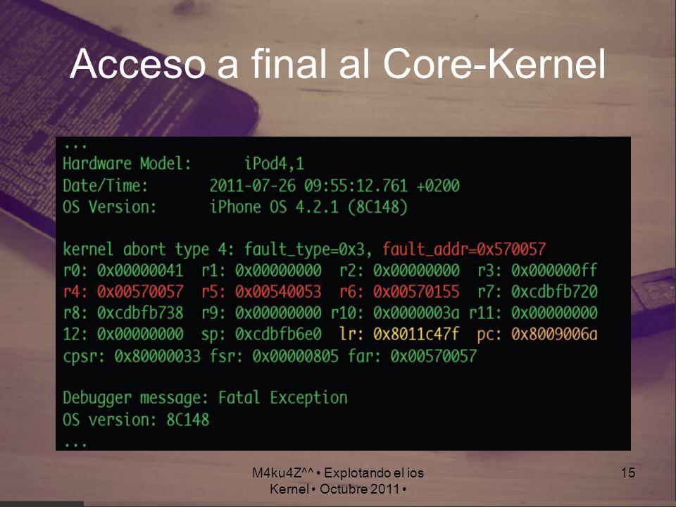 M4ku4Z^^ Explotando el ios Kernel Octubre 2011 15 Acceso a final al Core-Kernel
