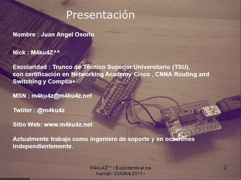 2 Presentación Nombre : Juan Angel Osorio Nick : M4ku4Z^^ Escolaridad : Trunco de Técnico Superior Universitario (TSU), con certificación en Networkin