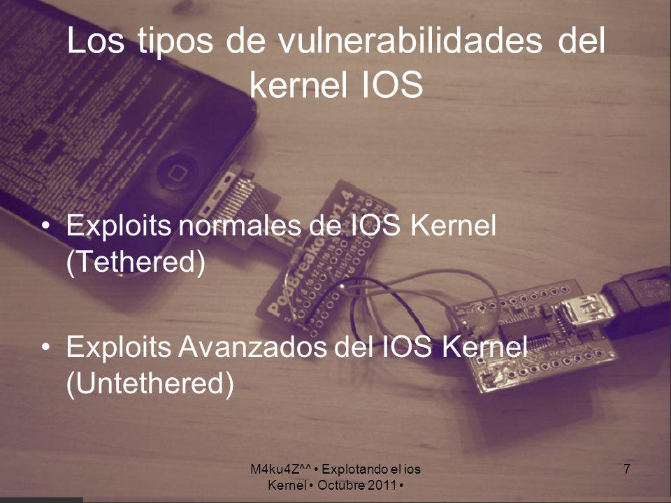 M4ku4Z^^ Explotando el ios Kernel Octubre 2011 7 Los tipos de vulnerabilidades del kernel IOS Exploits normales de IOS Kernel (Tethered) Exploits Avan