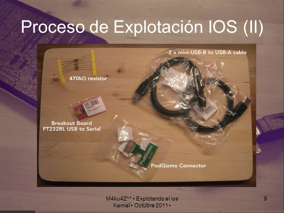 M4ku4Z^^ Explotando el ios Kernel Octubre 2011 10 Ingredientes (I) Una Resistencia de 470 kΩ Puentear el Pin 1 y el 21 Activar la UART