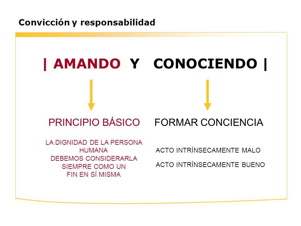 Convicción y responsabilidad | AMANDO Y CONOCIENDO | FORMAR CONCIENCIAPRINCIPIO BÁSICO LA DIGNIDAD DE LA PERSONA HUMANA DEBEMOS CONSIDERARLA SIEMPRE C