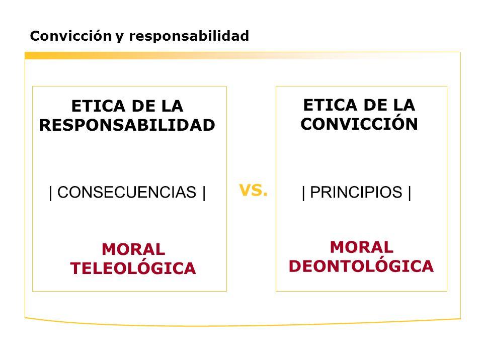 Convicción y responsabilidad ETICA DE LA RESPONSABILIDAD ETICA DE LA CONVICCIÓN | PRINCIPIOS | MORAL TELEOLÓGICA MORAL DEONTOLÓGICA VS. | CONSECUENCIA