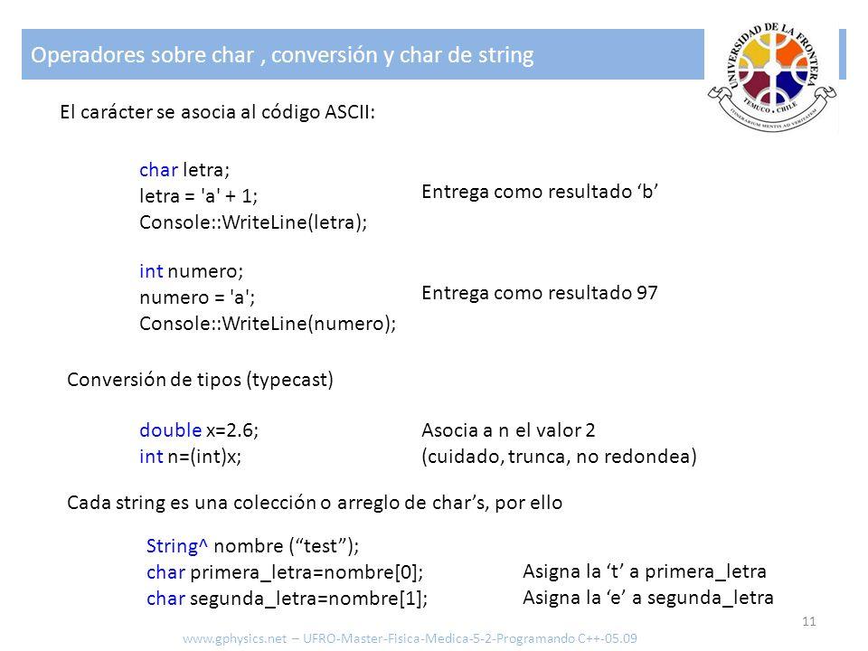 Operadores sobre char, conversión y char de string 11 www.gphysics.net – UFRO-Master-Fisica-Medica-5-2-Programando C++-05.09 char letra; letra = 'a' +