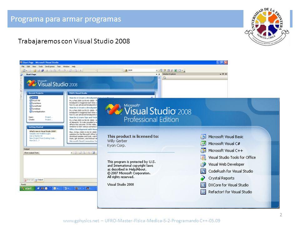Programa para armar programas 2 www.gphysics.net – UFRO-Master-Fisica-Medica-5-2-Programando C++-05.09 Trabajaremos con Visual Studio 2008