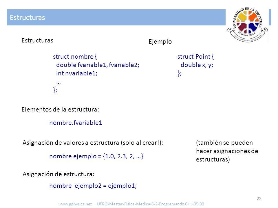 Estructuras 22 www.gphysics.net – UFRO-Master-Fisica-Medica-5-2-Programando C++-05.09 Estructuras struct nombre { double fvariable1, fvariable2; int n