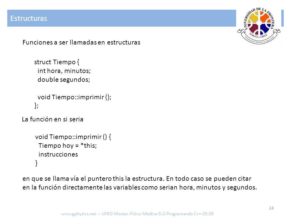 Estructuras 24 www.gphysics.net – UFRO-Master-Fisica-Medica-5-2-Programando C++-05.09 Funciones a ser llamadas en estructuras void Tiempo::imprimir ()