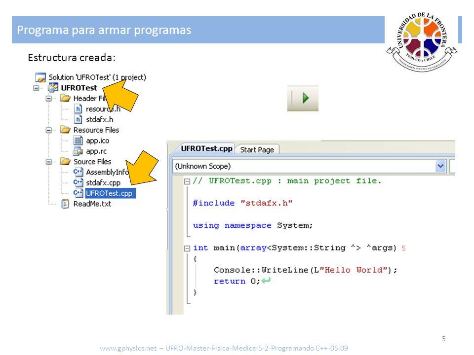 Programa para armar programas 5 www.gphysics.net – UFRO-Master-Fisica-Medica-5-2-Programando C++-05.09 Estructura creada: