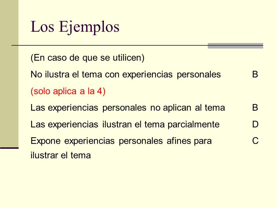 Los Ejemplos (En caso de que se utilicen) No ilustra el tema con experiencias personales B (solo aplica a la 4) Las experiencias personales no aplican al tema B Las experiencias ilustran el tema parcialmente D Expone experiencias personales afines para C ilustrar el tema