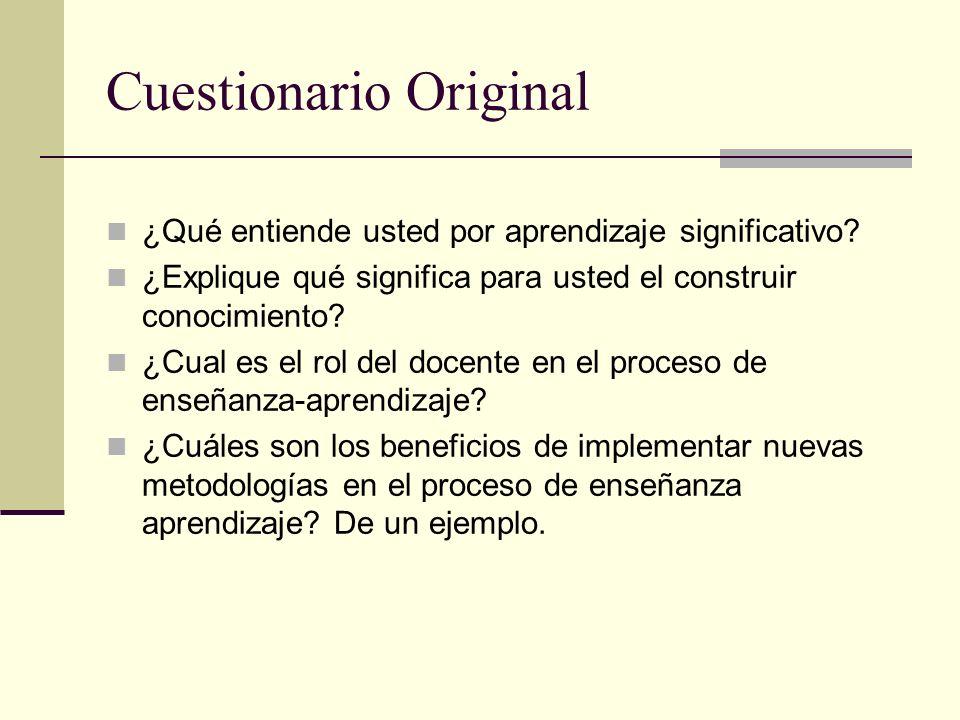Cuestionario Original ¿Qué entiende usted por aprendizaje significativo.