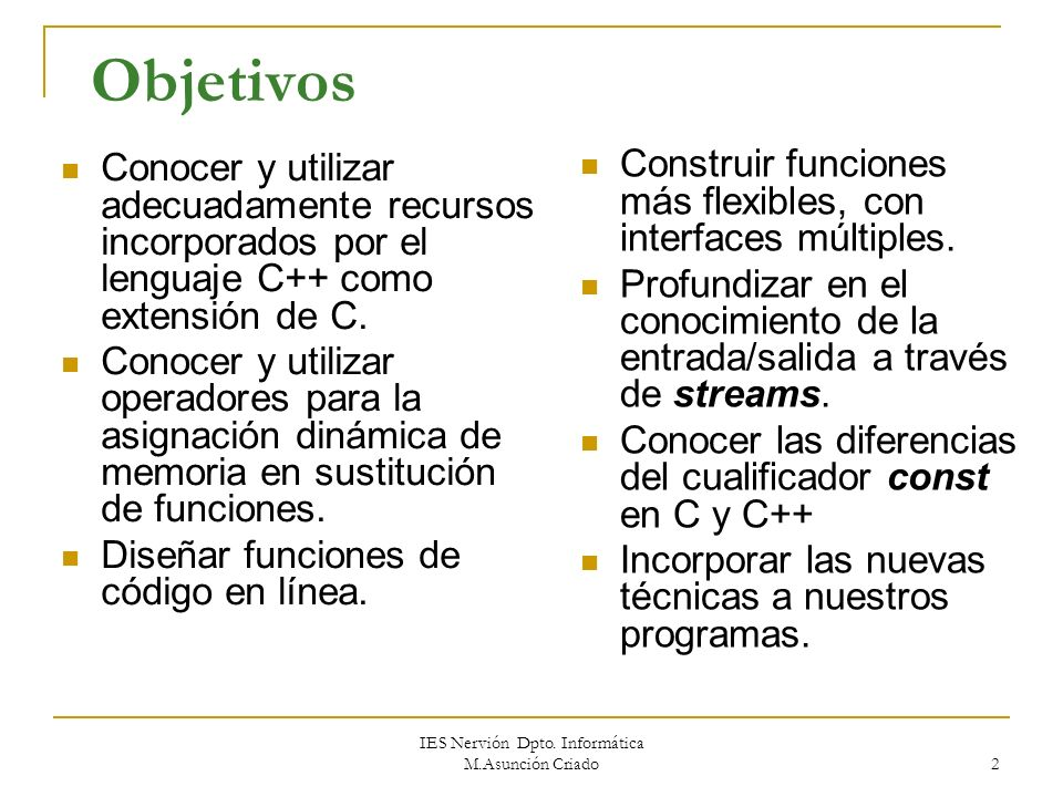 Unidad 15 Características de C++ no relacionadas con el DOO