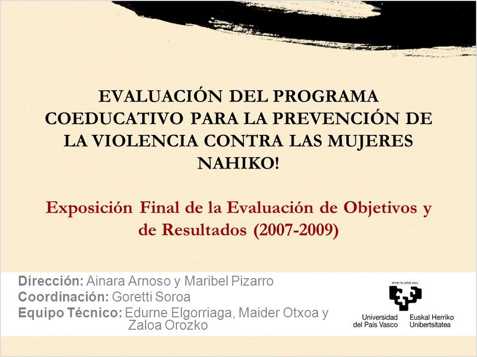 EVALUACIÓN DEL PROGRAMA COEDUCATIVO PARA LA PREVENCIÓN DE LA VIOLENCIA CONTRA LAS MUJERES NAHIKO! Exposición Final de la Evaluación de Objetivos y de