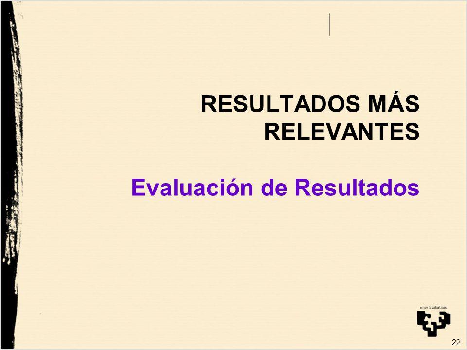 22 RESULTADOS MÁS RELEVANTES Evaluación de Resultados