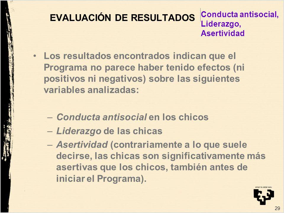 29 EVALUACIÓN DE RESULTADOS Los resultados encontrados indican que el Programa no parece haber tenido efectos (ni positivos ni negativos) sobre las si