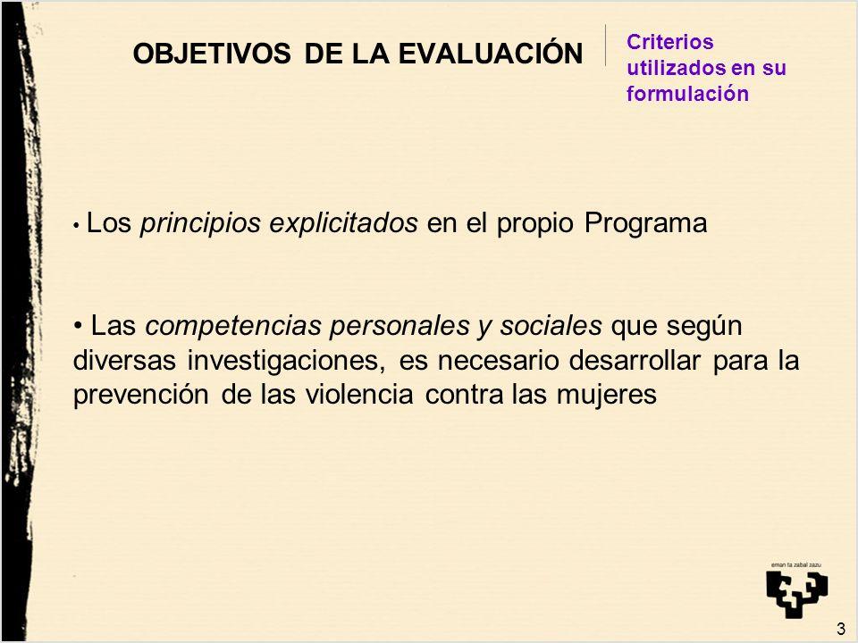 3 OBJETIVOS DE LA EVALUACIÓN Criterios utilizados en su formulación Los principios explicitados en el propio Programa Las competencias personales y so