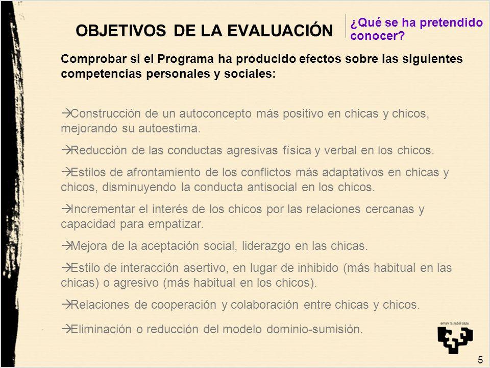 5 OBJETIVOS DE LA EVALUACIÓN Comprobar si el Programa ha producido efectos sobre las siguientes competencias personales y sociales: Construcción de un