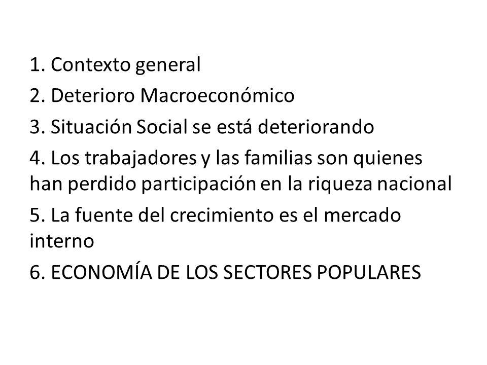 1. Contexto general 2. Deterioro Macroeconómico 3.