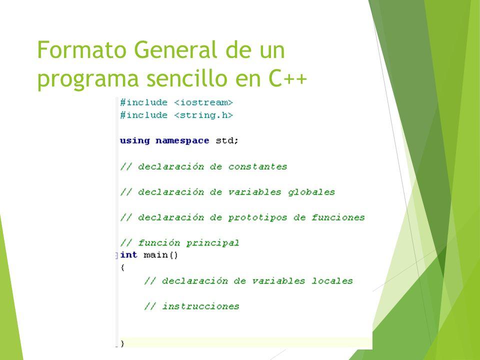 Formato General de un programa sencillo en C++