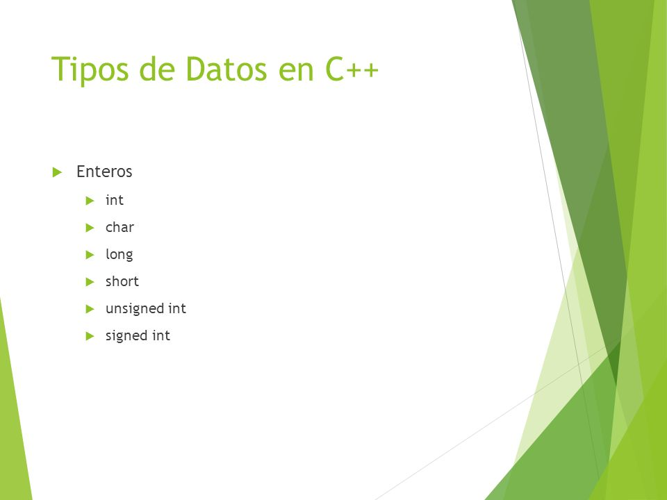Tipos de Datos en C++ Enteros int char long short unsigned int signed int