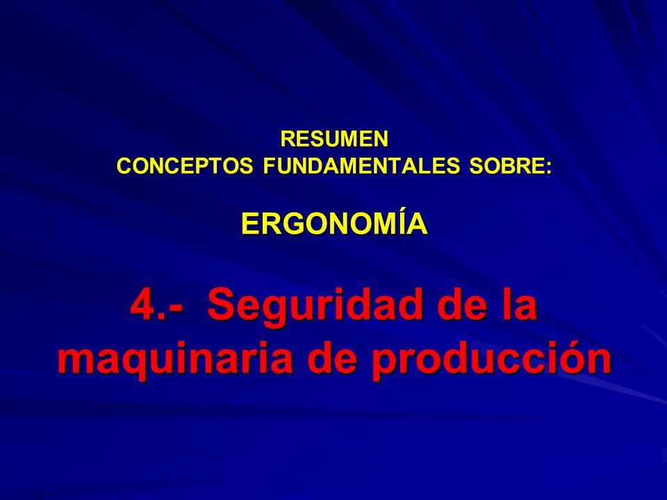 RESUMEN CONCEPTOS FUNDAMENTALES SOBRE: ERGONOMÍA 4.- Seguridad de la maquinaria de producción