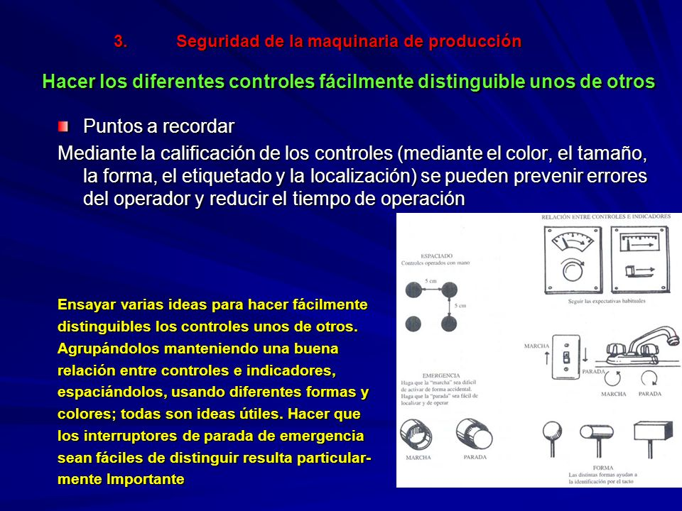 3.Seguridad de la maquinaria de producción Hacer los diferentes controles fácilmente distinguible unos de otros Puntos a recordar Mediante la califica