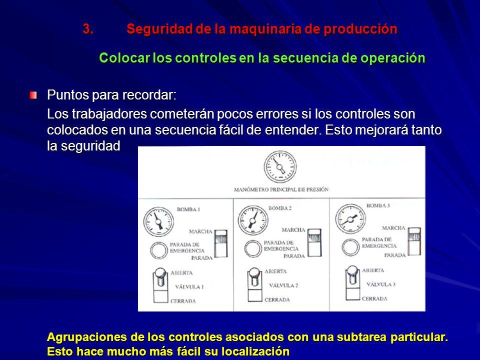 3.Seguridad de la maquinaria de producción Colocar los controles en la secuencia de operación Puntos para recordar: Los trabajadores cometerán pocos errores si los controles son colocados en una secuencia fácil de entender.