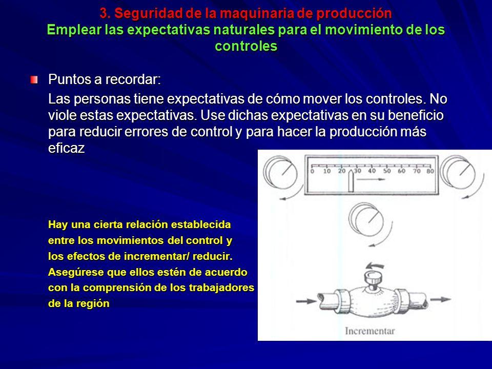 3. Seguridad de la maquinaria de producción Emplear las expectativas naturales para el movimiento de los controles 3. Seguridad de la maquinaria de pr