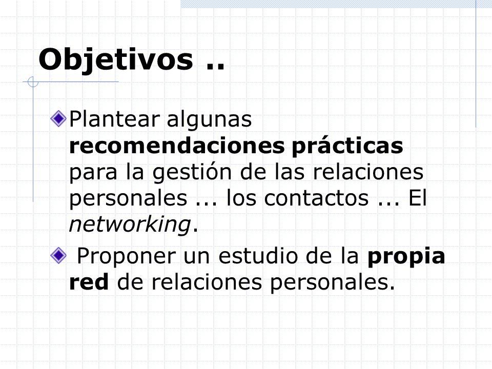 ...Reflexionar o diagnosticar nuestra propia red personal...