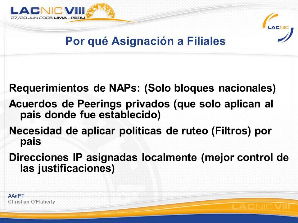 AAaPT Christian OFlaherty Por qué Asignación a Filiales Requerimientos de NAPs: (Solo bloques nacionales) Acuerdos de Peerings privados (que solo apli